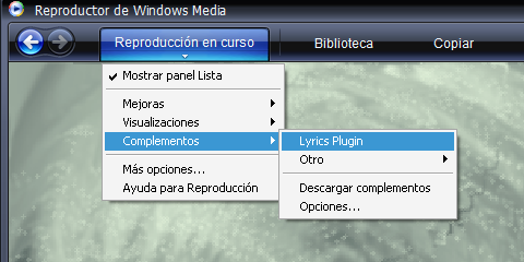 Configuracion de letras de canciones en windows media player